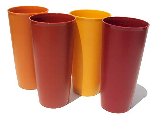 Tupperware 18 Ounce Vintage Stacking Tumblers Harvest Set of 4 -  1348