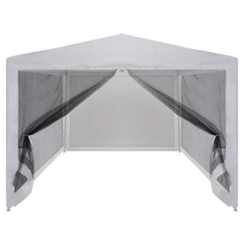 Cikonielf 3M x 3M Waterproof Gazebo Party Tent with 4 Mesh Sidewalls Powder-Coated Steel, White and Black 3 x 3 x 2.55 m