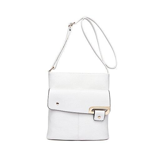 LeahWard Women's Cross Body Bags Quality Faux Leather Shoulder Bag Handbags Messenger Bag CW3003 (WHITE 26X28CM)