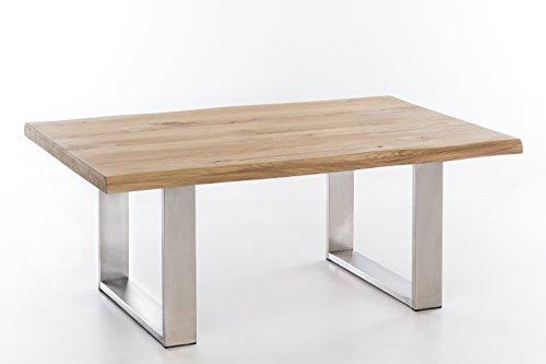 Unbekannt Couchtisch massiv Holz Wildeiche Ventus 110x70 Natur geölt, Edelstahl Tischuntergestell
