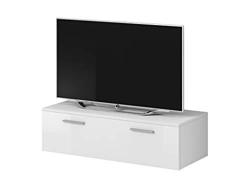 E-Com TV-Schrankständer Boston Korpus matt weiß/Front weiß Hochglanz (100cm)