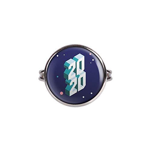 Mylery Ring mit Motiv Silvester 2020 Silber 16mm