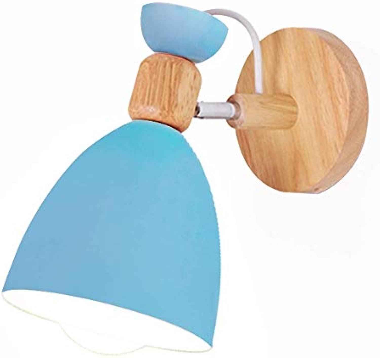 HWZQHJY Creative Simple Style Wandleuchten Nordic Wandleuchte Lampen Macaron Edison Lampenfassung Ganglichter Flurlampe Nachttischlampe Leselampe (Farbe   Blau)