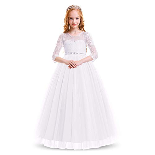 Flower Girl Long Sleeve Princess Dresses Lace Maxi Gown Kids Wedding Bridesmaid Formal Party Pageant Rhinestone Little Big Girls First Communion Birthday Floor Length Puffy Tulle Dress White 6-7Y