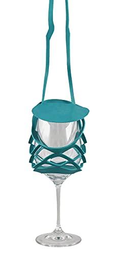 VINSTRIP® GLASSLING - Weinglashalter zum Umhängen mit Spritzschutz, Petrol