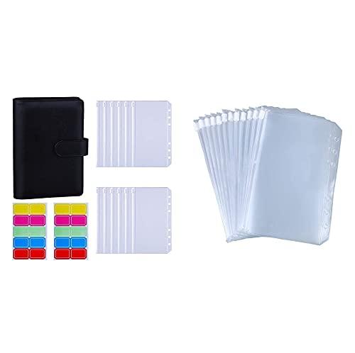 Antner A6 Binder Cash Budget Envelopes System Kit (Black) Bundle | 12PCS A6 6-Holes Zipper Binder Pockets