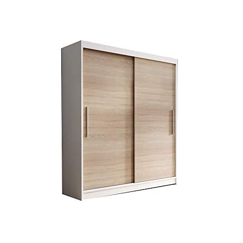 E-MEUBLES Armoire de Chambre avec 2 Portes coulissantes | Penderie (Tringle) avec étagères (LxHxP): 150x200x61 LARA 04 (Blanc+ Sonoma)