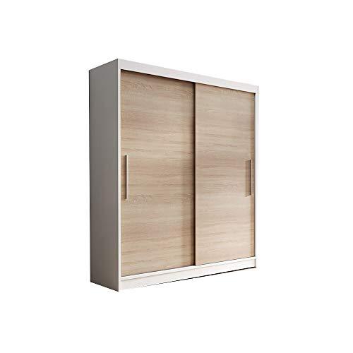 E-MEUBLES Schlafzimmer Kleiderschrank mit 2 Schiebetüren | Kleiderschrank (Rod) mit Regalen (BxHxT): 150x200x61 LARA 04 (Weiß + Sonoma)