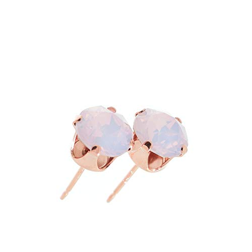 pewterhooter Women's 925 Sterling silver 14k Rose Gold plated earrings made with Rose Water Opal crystal from Swarovski. Gift box.