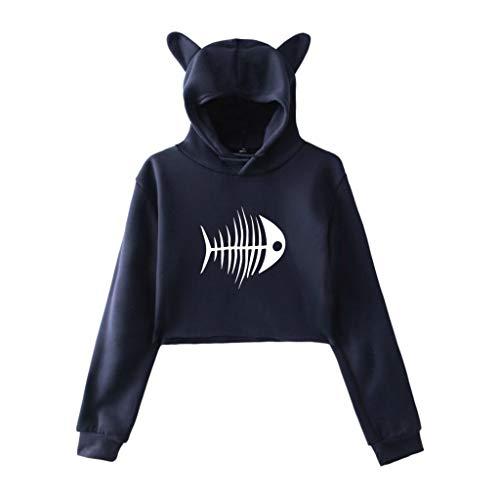 OUICE Sweatshirt à Capuche Court Imprimé Chic Sexy Femme Automne Vetement Pas Cher Sweat-Shirt Sweat-Shirt