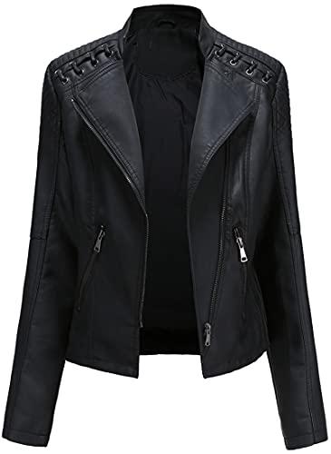 FLYCHEN Mujer Chaqueta Cuero Sintético Biker Chaqueta Saco Blazer Leather Jacket Chaqueta para Mujer Chaqueta con cremallera, 1 negro, S