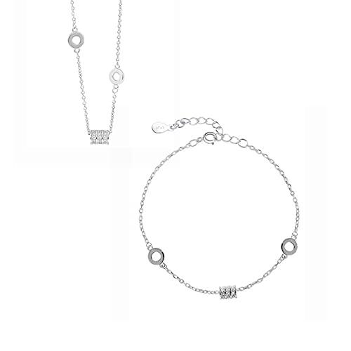 HCMA Plata de Ley 925 Micro Pave Zircon Cilindro Conjunto de Joyas Collar geométrico Delicado Pulsera Conjuntos de Joyas para Mujeres Conjunto de Joyas de Fiesta de Boda