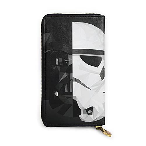 Darth Vader Stormtrooper Baby Yoda Star The Wars - Cartera de piel auténtica con cremallera para tarjetas y organizador