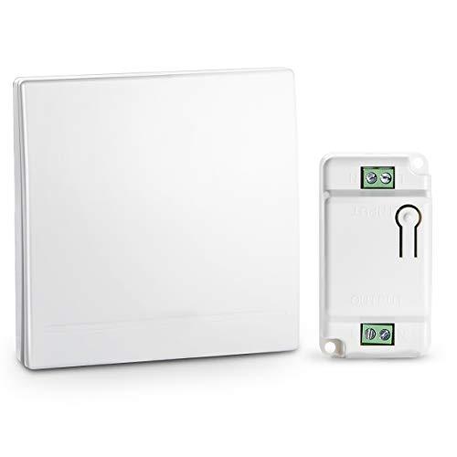 Lichtschalter Funkschalter Set, Funk Schalter Wasserdicht Wandschalter 100M reichweit drahtlose Schalter mit Empfänger keine Leitungsverlegung (1 ziehen 1)