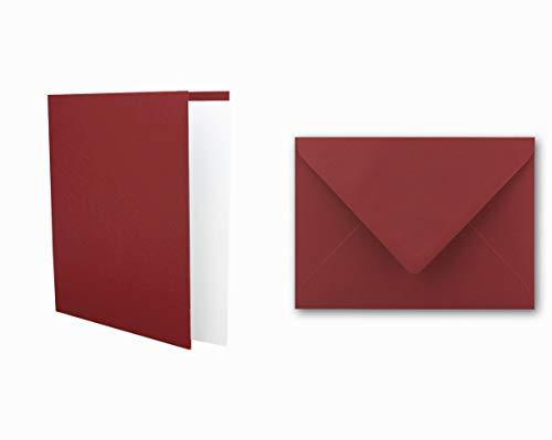 25x Einladungskarten Set inklusive Briefumschläge & extra Einlegeblätter - Blanko Klapp-Karten in Dunkel-Rot im DIN A6 Format - speziell zum Selbstgestalten & Kreieren