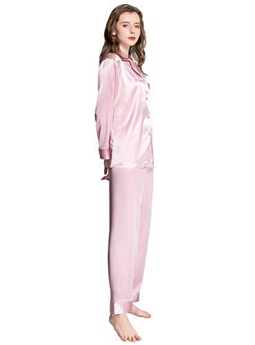 Damen-Schlafanzug-Set, Seide, Satin, Nachtwäsche, Loungewear, Größen XS-3XL -  Pink -  Medium