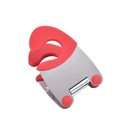 Cabilock 2 Stück Löffel Topf Clip Topf Deckel Lifter Deckel Halter Löffel Rest Handliche Küche Gadget Organizer Kochgeschirrhalter Rot