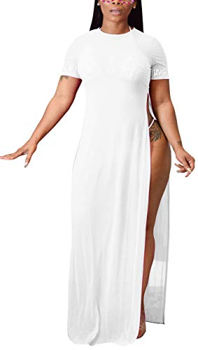 sexycherry Women's Sexy Sleeveless Swimsuit Cover Up Summer Casual See Through Sheer Long Maxi Dresses Plus Size Swimwear (XX-Large, White B)