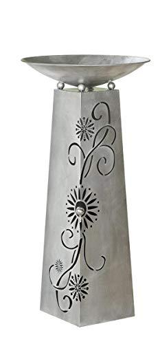 GILDE Schalenständer Blütenranke antik Silber mit Edelstahlkugel D 3,5cm, bestehend aus Ständer + Schale H= 102,0 cm Durchm. 50,0 cm 68779