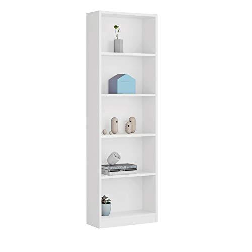 Habitdesign 005422J - Estantería Juvenil Dormitorio 6 baldas, librería Vertical, Modelo I-Joy, Medidas: 180 cm (Alto) x 52 cm (Ancho) x 25 cm (Fondo) (Blanco Artik)