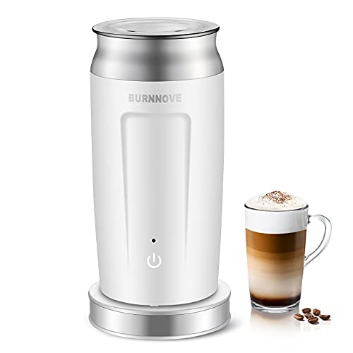 BURNNOVE 4 in 1 Montalatte Automatico 500w Montalatte Elettrico 240ml Inossidabile Montalatte per caffè Latte Macchiato Cappuccino Caldo e Freddo Rivestimento Antiaderente