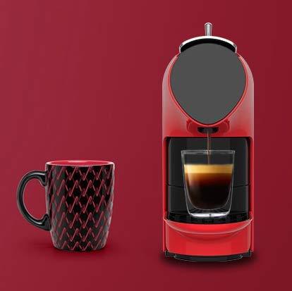 RUGU Kapsel-Kaffeemaschine vollautomatische Mini-Büro tragbarer Nicht-Instant konzentrierte Bohne Mühle hausgemachte,Rot