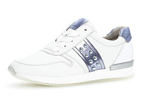 Gabor Damen Low-Top Sneaker 24.421.26, Frauen Halbschuh,Schnürschuh,Strassenschuh,Business,Freizeit,Weiss/Lavendel/Azur,41 EU / 7.5 UK