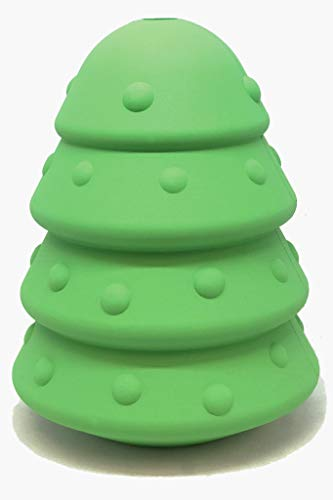 SodaPup MKB Natural Rubber Christmas Tree Chew Toy - Treat Dispenser - Made in USA - for Heavy Chewers -Green - Large