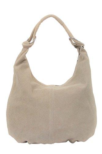 AMBRA Moda Damen Wildleder Schultertasch Damen Handtasche Hobo-Bags Shopper Beuteltaschen Veloursleder Suede Ledertasche DIN-A4 42cm x 35cmx 4cm WL803, Beige, XXL