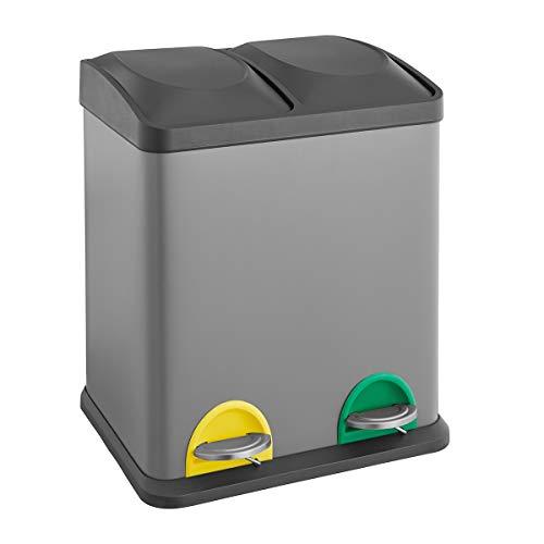 SVITA TC2X15 Küchen-Eimer 30 Liter Grau 2x15L doppelt Abfalleimer 2er-Mülleimer Mülltrennung Treteimer