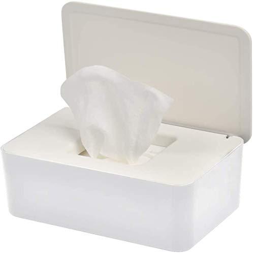 MIBANG - Caja dispensadora de toallitas secas y húmedas, cuadrada, de color blanco, con tapa, a prueba de polvo, portátil, para la oficina y el hogar