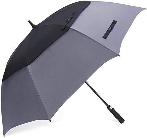 G4Free paraguas de golf abierto automático de 54/62/68 pulgadas, extra grande, doble dosel ventilado a prueba de viento impermeable Stick paraguas (gris y negro, 62 pulgadas)
