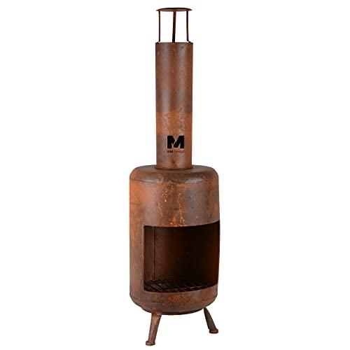 RM Design Gartenkamin aus Edelrost 105 cm hoch Terrassenofen/Terrassenkamin als Feuerschale oder Feuerkorb für den Garten