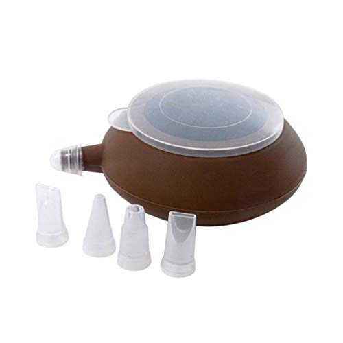 Hemoton Gebak Piping Tool Tip Pot Vorm Versieren Dispenser Siliconen Cupcake Icing Bakken Macaron Koekjes Snoep Diy Benodigdheden Met 4 Nozzles Set (Koffie)