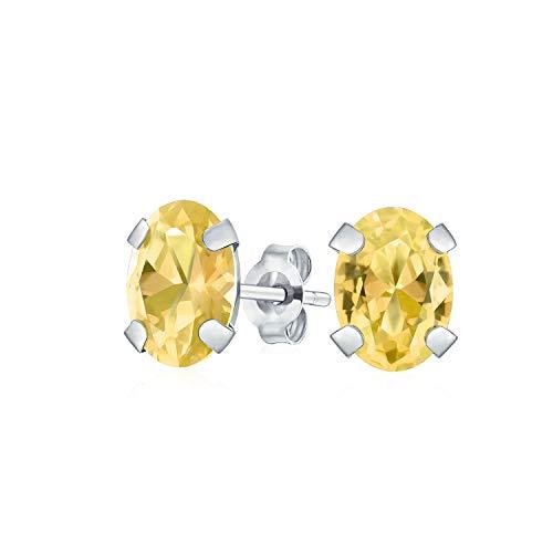1.6Ct oval en forma de amarillo piedra preciosa citrino pendientes para las mujeres real oro blanco 14K noviembre piedra de nacimiento