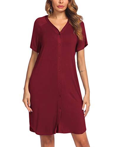 ADOME Nachthemd Damen Kurz Stillnachthemd Nachtkleid Kurzarm Still Schlafshirt umstandsnachthemd Nachtwäsche mit Durchgehender Knopfleiste geburtshemd rot M