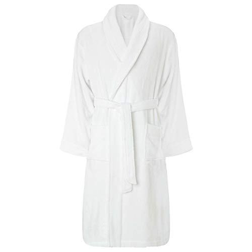 Doziv Unisex Adult 100% Egyptian Cotton Terry Towel Shawl Dressing Gown Bathrobe, White Shawl, S-M