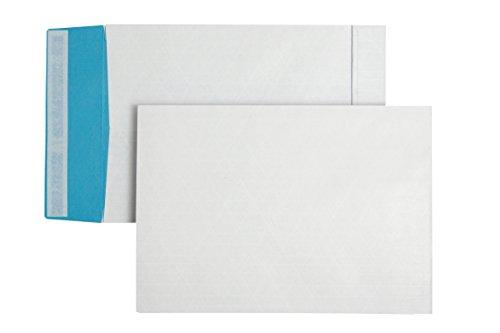 Faltentasche mit Klotzboden B4 (353x250x40mm) haftklebend fadenverstärkt weiß/blau 130g  125 stück