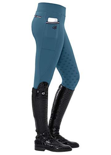 SPOOKS Damen Reitleggins Reithose Vollbesatz, Damenreithose Reithosen Turnierreithose Vollbesatzreithose - Sanne Full Grip Leggins - Legion Blue M