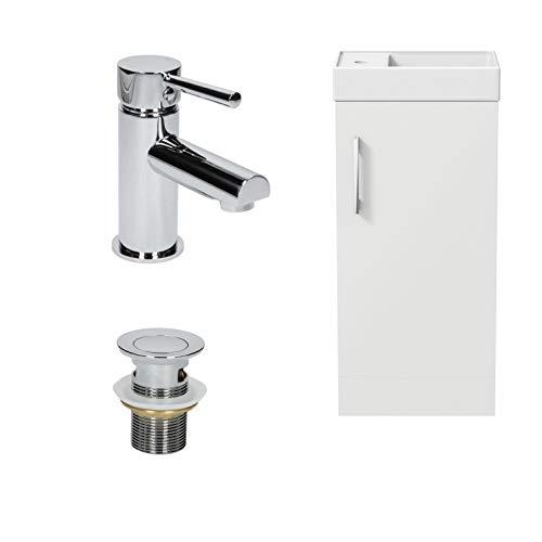 400mm Bathroom Basin Sink Vanity Unit Furniture 1TH Round Mixer Tap Free...