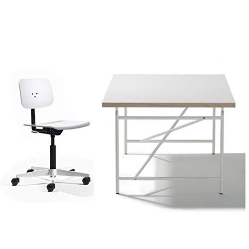 Ausstellungsstück Kinderschreibtisch Eiermann Tischplatte weiß – 150 x 75 cm, Eiermann-Gestell weiß + Schreibtischstuhl Mr. Square - Richard Lampert Möbel