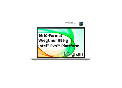 LG gram 14Z90P 2021 - Ultraleichtes 14 Zoll Intel Evo Notebook (16:10 Bildschirm, 99% DCI-P3, IPS Display, Intel Core i7, 16GB RAM, 1 TB SSD, 25,5 h Akku, Thunderbolt 4, Win 10 Home Plus), Silver