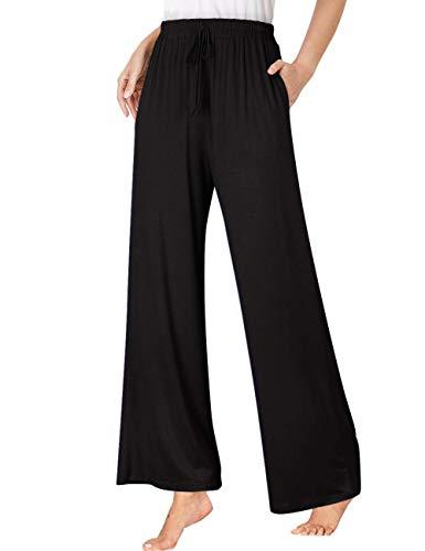 GlorySunshine Women's Yoga Pants Elastic Waist Solid Palazzo Casual Wide Leg Lounge Pants with Pockets Long-Black XL