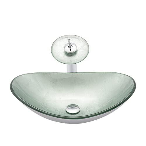 Fregadero de lavabo de encimera, fregadero de vaso ovalado de vidrio templado, con fregadero de encimera de grifo, lavabo de lavabo