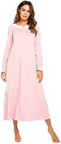 Ekouaer Womens Cotton Nightgown Long Victorian Sleepwear with Lace Patchwork Pink XL product image