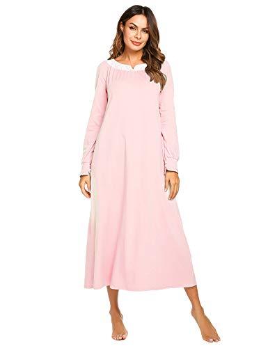 Nachthemd Damen Langarm Schlafkleid Einteiliger Schlafanzug Nachtkleid Retro-Stil Kleid Warme Sleepshirt Pyjama aus Baumwolle für Frauen Schwangere Oma Rosa XXL