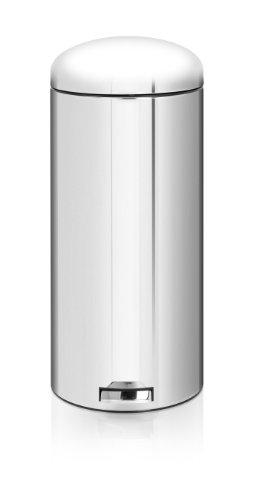 Brabantia 479328 Poubelle à Pédale Retro Bin Motion Control Seau Intérieur Plastique 30 L Brilliant Steel