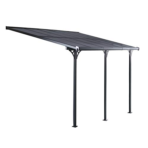 GARDIUN KIS13013 - Pérgola de Pared Elliot - 13 m² 435x300x225/270 cm Aluminio y Policarbonato