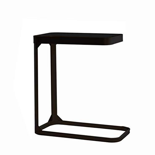 N/Z Wohnausstattung C-förmiger Beistelltisch/Schmiedeeisen-Beistelltisch Tischplatte aus gehärtetem Glas Hochtemperatur-Lackierung Homeiving Room Sofa Schlafzimmer Nachttisch Einfache Möbel Schwarz (