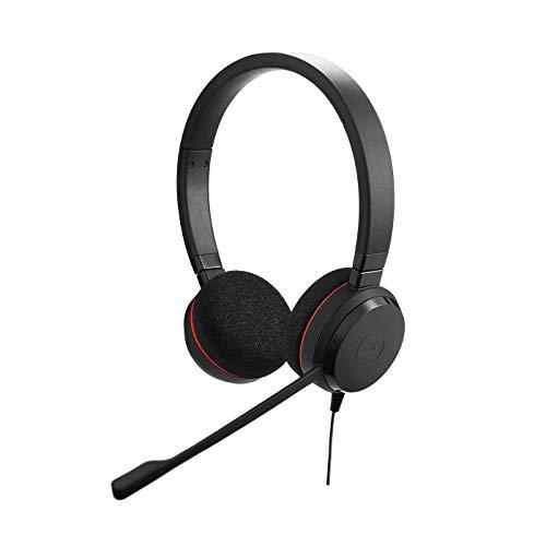 Jabra Evolve 20 - Auriculares Estéreo Certificados por Microsoft para VoIP Softphone - Cancelación Pasiva de Ruido - Cable USB con Unidad de Control - Negro
